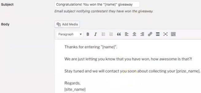 Winner Email Format