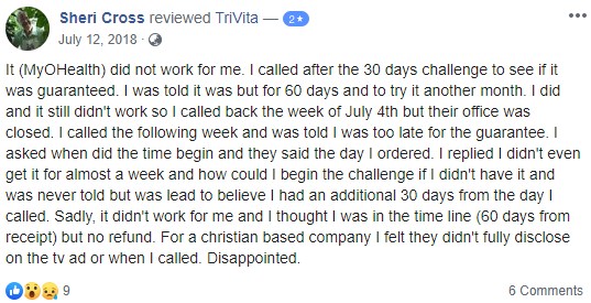 One Of The Complaints On Trivita