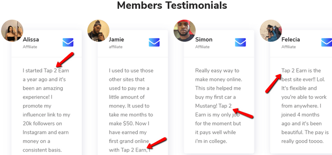 Is Click4Kash A Scam? - Fake Testimonies On Tap2Earn Website