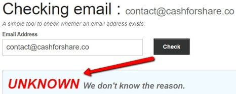 Is Cash For Share A Scam? - Email Address Doesn't Exist