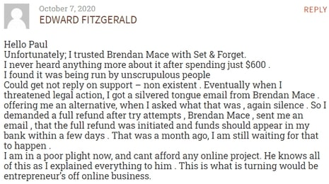 5 Minute Profit Pages Review - Customer Feedback On Brendan Mace Set & Forget Product