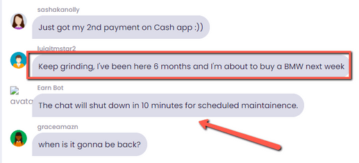 EarningCash.co Review - Fake Chat