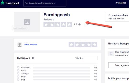 EarningCash.co Review - Original Trustpilot Rating