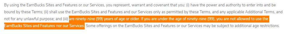 Earnbucks.co Review - You Need To Be 99 Or 99+ Years Old
