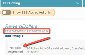 Is Reward Dollars A Scam? - Not Accredited By BBB