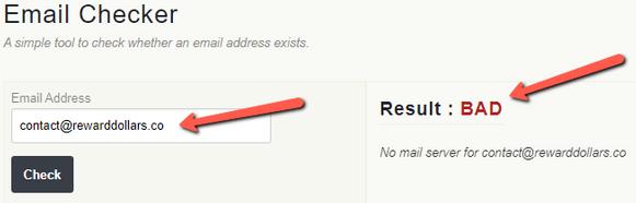 Is Reward Dollars A Scam? - Fake Email Address