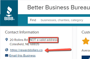 Is Reward Dollars A Scam? - Not A Valid Address Stated By BBB