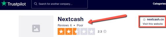 What Is Next Cash? - Poor Rating On Trustpilot