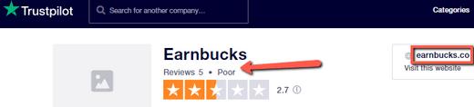 Earnbucks.co Review - Poor Rating On Trustpilot