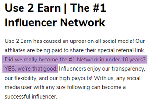 What Is Use2Earn? - Fake Claim On Being #1 Network