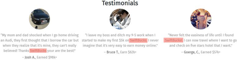 Is SwiftBucks A Scam? - Fake Testimonials On SwiftBucks Site
