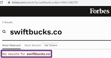 Is SwiftBucks A Scam? - Not Found On Forbes
