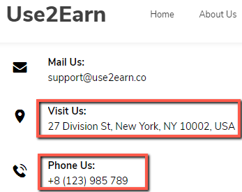 What Is Use2Earn? - Fake Contact Details
